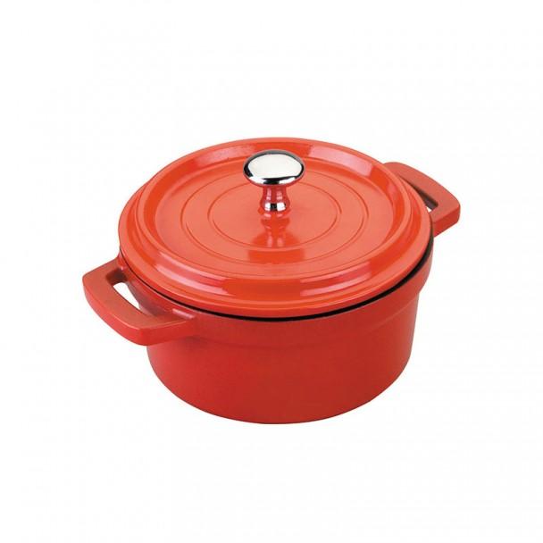 Kochtopf auf Roten Mini mit Deckel Gusseisen