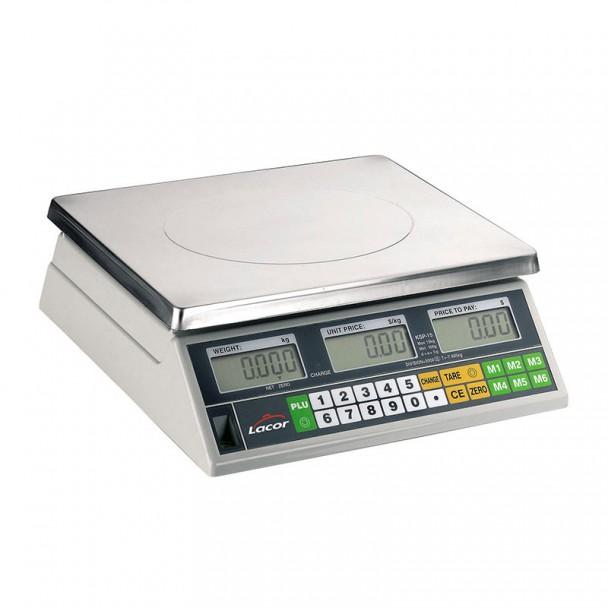 Waage 15 kg Elektronik-Desktop-Base-Inox Quadratisch