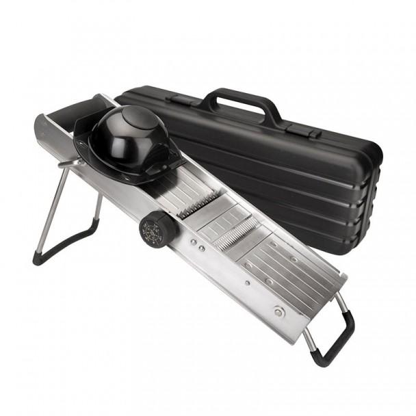 Mandoline Edelstahl, mit Fingerschutz und Drehende Messer