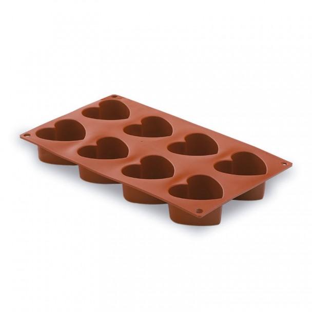 Form Herz 8 Kavitäten Silikon Pastryflex